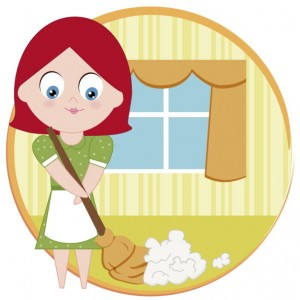 Portrait of a woman sweeping the floor with a broom
